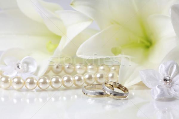 белый свадьба натюрморт кольцами цветок Церкви Сток-фото © brebca