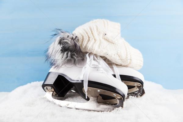 Ice skates with cap Stock photo © brebca