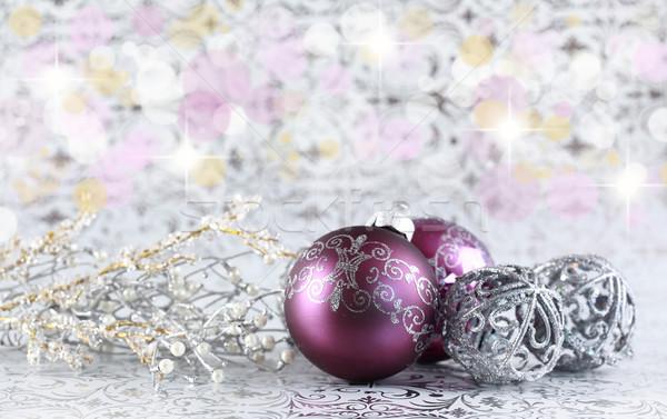 Natale ancora vita argento viola copia spazio Foto d'archivio © brebca