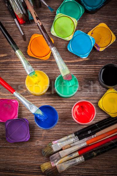 Színek különböző használt színek iskola festék Stock fotó © brebca