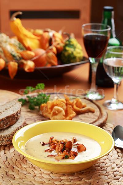 Stock photo: Cream of chanterelle mushroom soup