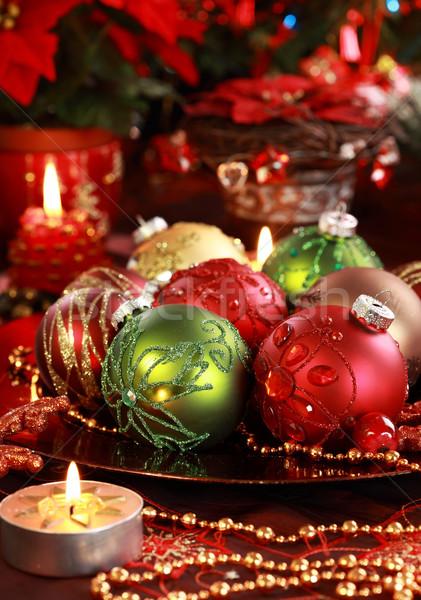 Karácsony díszek gyönyörű asztal dekoráció gyertya Stock fotó © brebca