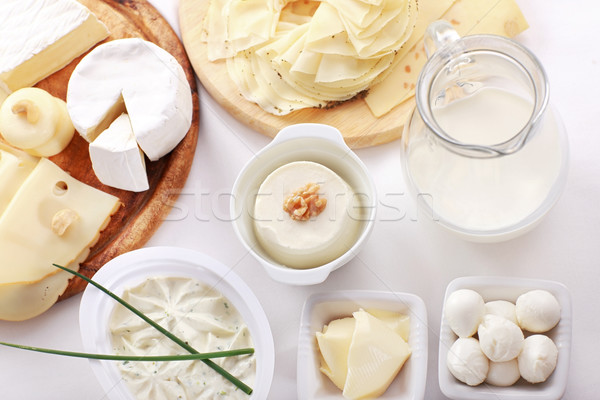Tejtermékek egyezség asztal étel üveg konyha Stock fotó © brebca