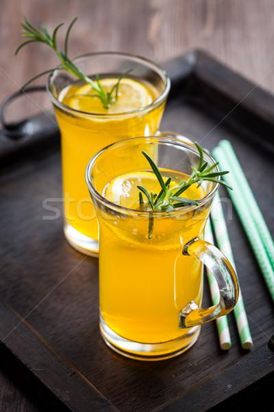 Fatto in casa limonata rosmarino limone alimentare vetro Foto d'archivio © brebca
