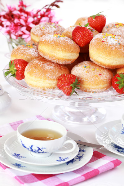 Berliner - doughnut filled with strawberry jam Stock photo © brebca