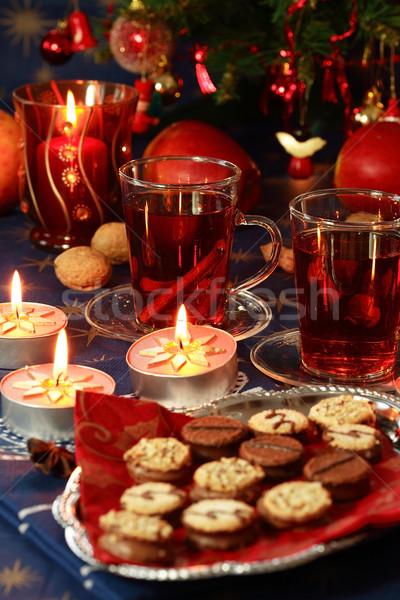 Warme drank christmas cookies stilleven drinken kaars Stockfoto © brebca