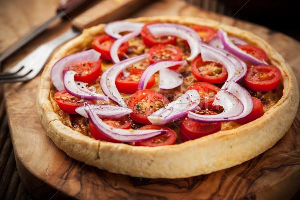 Tocino tradición francés cebolla tomate queso Foto stock © brebca