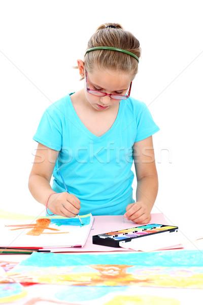 Colegiala pintura acuarela papel escuela nino Foto stock © brebca