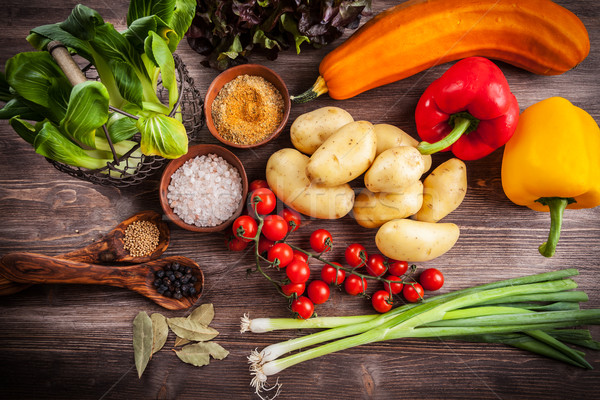Raw vegetables with spices Stock photo © brebca