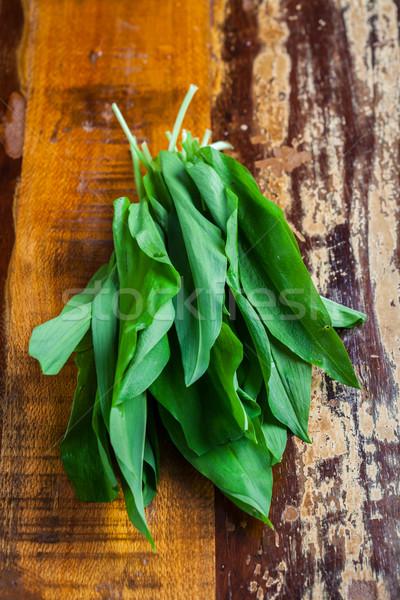 Fresh wild garlic leaves Stock photo © brebca