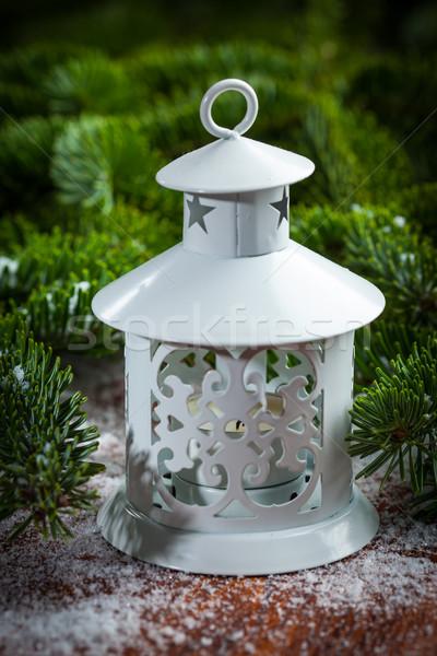 Natale lanterna neve legno candela Foto d'archivio © brebca