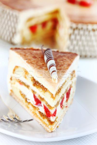 Тирамису именинный торт вишни продовольствие жира Сток-фото © brebca