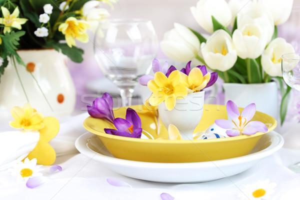 Yer Paskalya paskalya yumurtası çiçek bahar cam Stok fotoğraf © brebca