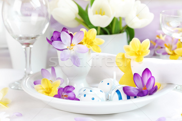 Stock photo: Place setting for Easter with crocuses