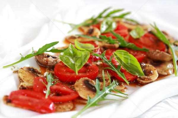 Cogumelo marinado tomates restaurante vida vegetal Foto stock © brebca