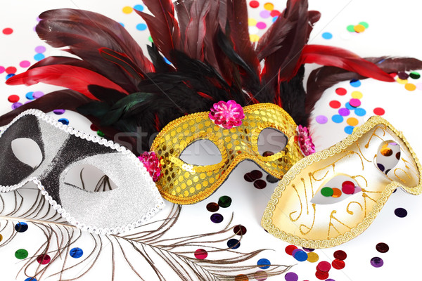 Carnaval masques masque confettis blanche disco Photo stock © brebca