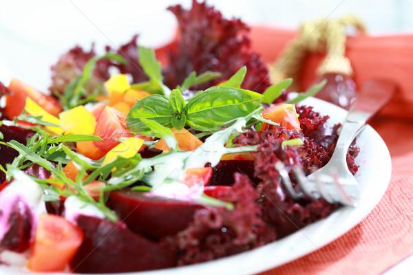 Mieszany burak Sałatka zdrowe odżywianie zdrowia restauracji Zdjęcia stock © brebca