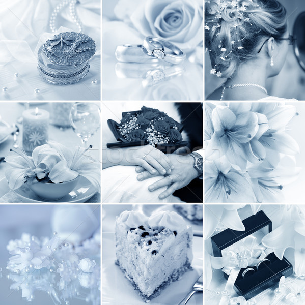 Wedding collage bella nove blu fiore Foto d'archivio © brebca