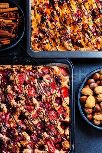Ev yapımı meyve sünger kekler malzemeler Stok fotoğraf © brebca