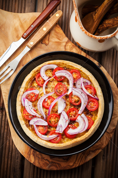 Bacon tradição francês cebola tomates queijo Foto stock © brebca