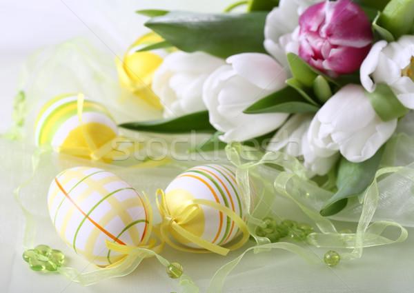 Húsvét részlet asztal dekoráció húsvéti tojások fehér Stock fotó © brebca