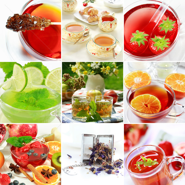 Thé collage naturelles tisane fruits alimentaire Photo stock © brebca