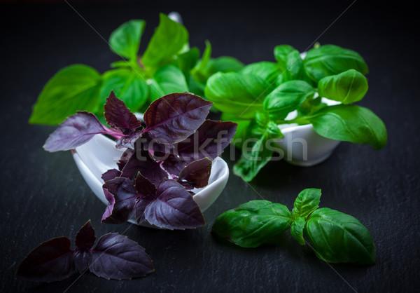 変動 バジル 黒 食品 葉 緑 ストックフォト © brebca