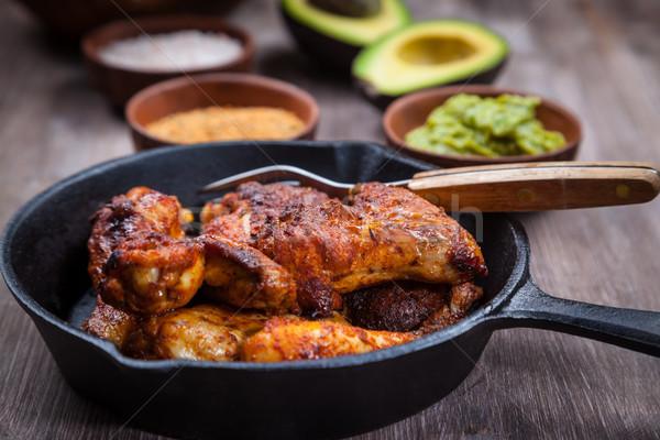 Frango grelhado pernas asas salada comida fruto Foto stock © brebca