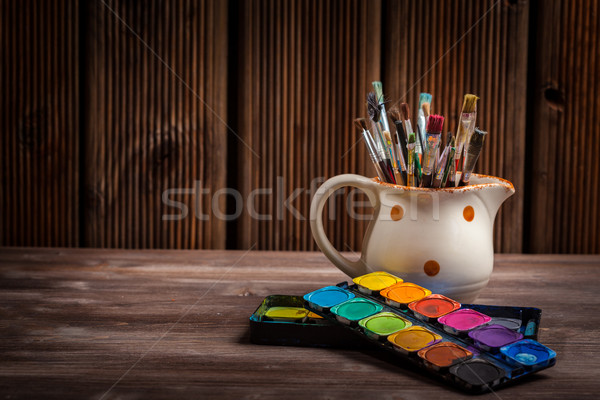 Colors, Watercolors and brushes Stock photo © brebca
