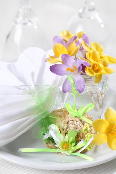 Paskalya detay paskalya yumurtası yer bahar cam Stok fotoğraf © brebca