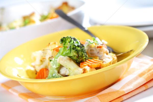Karışık sebze tavuk göğsü keklikotu tavuk Stok fotoğraf © brebca