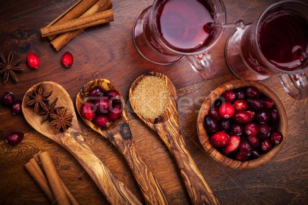 Malzemeler kızılcık sıcak şarap pişirme gıda Stok fotoğraf © brebca