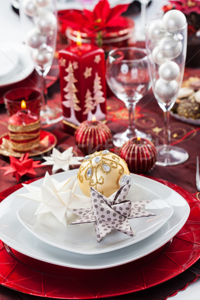 Place setting Christmas with paper star Stock photo © brebca