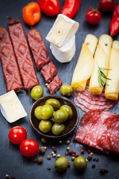 Antipasti üst görmek gıda şarap Stok fotoğraf © brebca