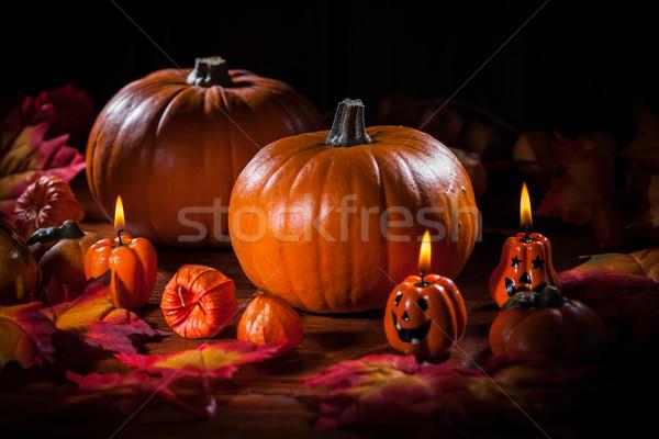 Tökök hálaadás halloween hagyományos természet gyertya Stock fotó © brebca