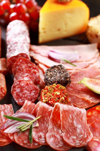 Stockfoto: Catering · salami · kaas · wijn · restaurant · plaat