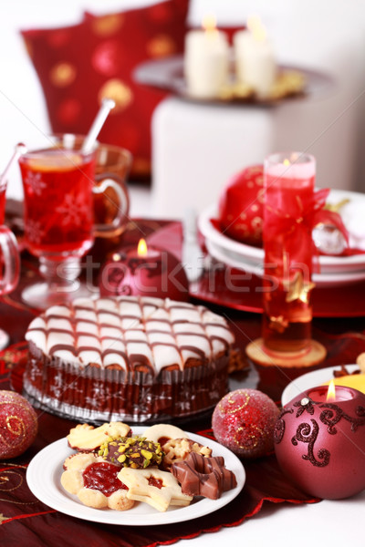 Christmas cookies with marchpane cake and  wine punch Stock photo © brebca