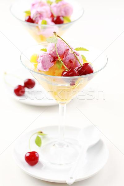 Ananás cereja sorvete de comida saúde Foto stock © brebca