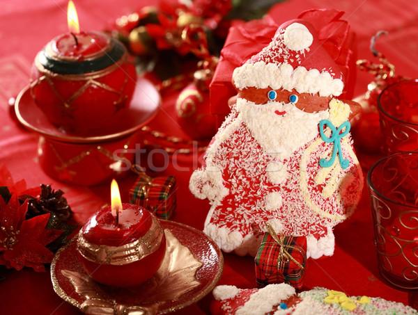 Stockfoto: Peperkoek · kerstman · christmas · detail · voedsel · Rood