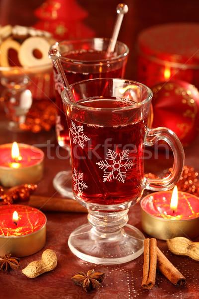 Warme drank winter christmas heerlijk cookies wijn Stockfoto © brebca