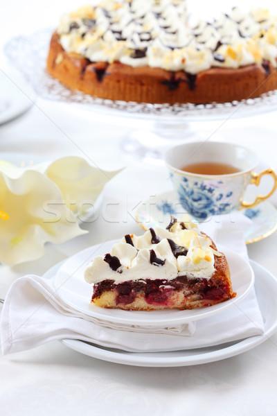 Cseresznye piskóta krém finom csésze tea Stock fotó © brebca