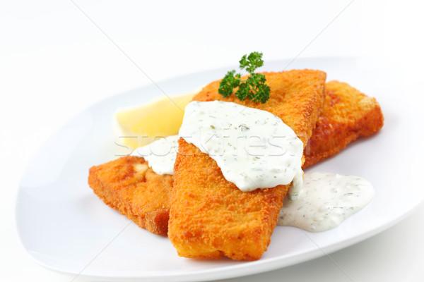 Coalfish with remoulade Stock photo © brebca