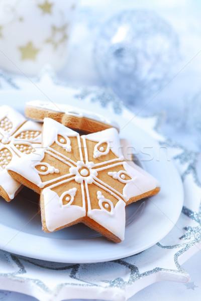 Stock fotó: Házi · készítésű · mézeskalács · karácsony · tányér · torta · gyertya