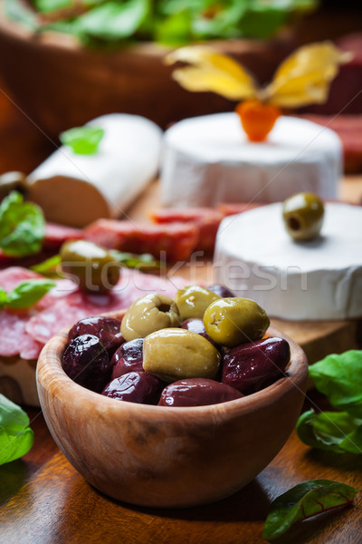 Fresh olives with antipasto catering platter Stock photo © brebca