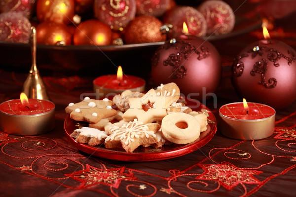 Lezzetli Noel kurabiye detay mumlar kırmızı Stok fotoğraf © brebca