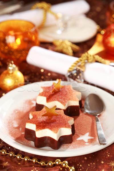 Karácsony fagylalt csokoládé fahéj étel torta Stock fotó © brebca