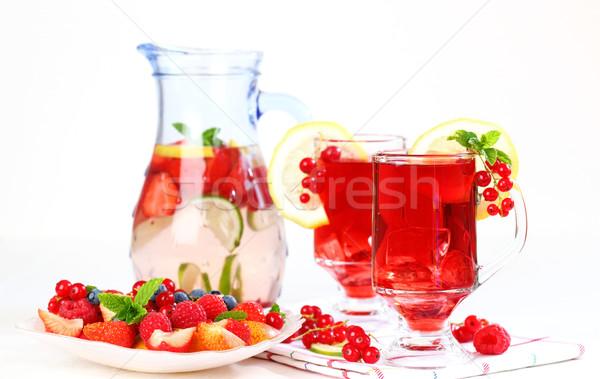 Refreshing summer ice tea with fresh fruits Stock photo © brebca