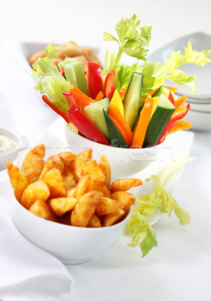 Vegetable snack and wedges with dip Stock photo © brebca
