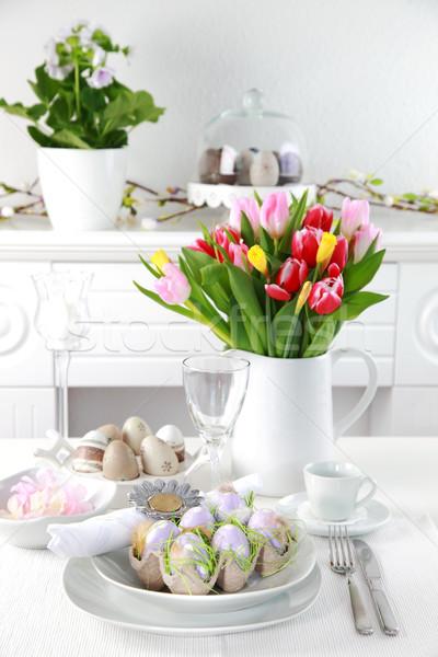 Miejsce Wielkanoc Easter Eggs tulipany kwiat jaj Zdjęcia stock © brebca