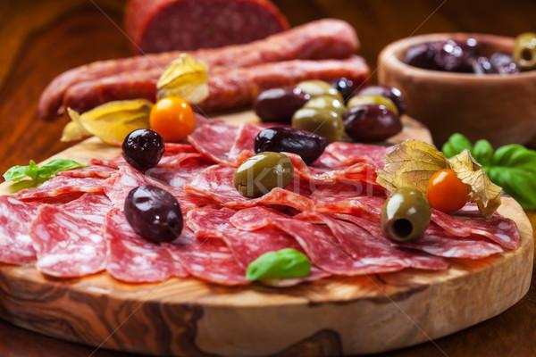 Italiano salame azeitonas ervas comida vermelho Foto stock © brebca